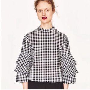Zara Tops - Zara basic black/white gingham ruffle crop blouse